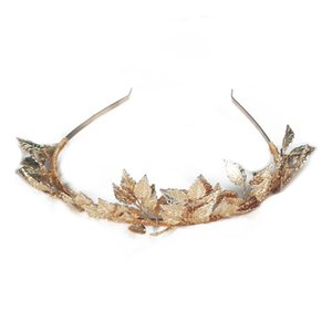 Greek Goddess Leaf Crown Baroque Queen Gold Color Crown Tiara Wedding Bridal Headband Hair Accessories Hairpiece