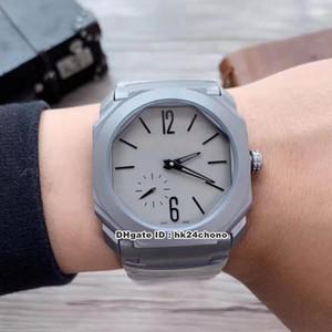 6 Estilo Melhor Octo Finíssimo Titanium Automatic Mens Watch 102.713 BGO40C14TTXTAUTO Cinza Dial pulseira de aço titânio Gents Relógios de Desporto