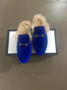 Designer Hommes Femmes Princetown pantoufles de velours en cuir femmes mocassins avec mules mens dame de fourrure douce Flats occasionnels avec la taille de la boîte EUR34-46 s07