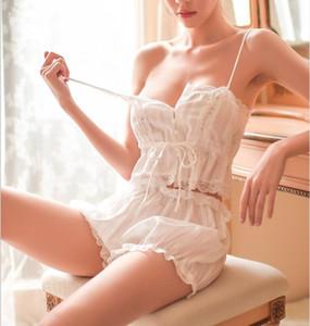 Sexy Retro Court Style Halter Belt Ladies Strapless Pajama Ladies Breathable Transparent Lace Cotton Seductive Lingerie Set