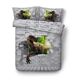 베개 샴스 이불 커버 3 개 세트, 마이크로 화이버 이불 커버 지퍼 클로저, 아니 보혜사와 3D 벽돌 동물 공룡 침구
