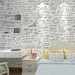 Wallpaper preto e branco geometria negro fórmula matemática sala de café temático sala de jantar wallpaper personalidade papel de parede das crianças
