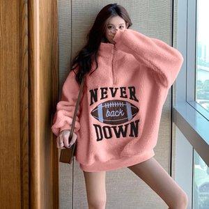 EACHIN Мода Женщины Сыпучие Письмо Печать Hooides зима теплая с длинным рукавом пуловер с капюшоном Топы корейских вскользь Tracksuit Толстовки