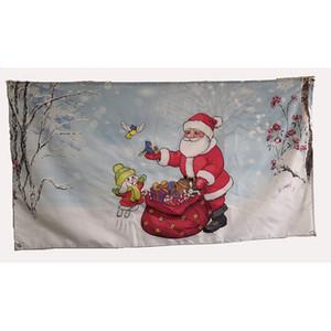 3x5 Mutlu Christams Bayrak Polyester Baskı Noel Baba Kuşlar Köpek Birlikte Christams Bayrak Banner 5x3 oynamak