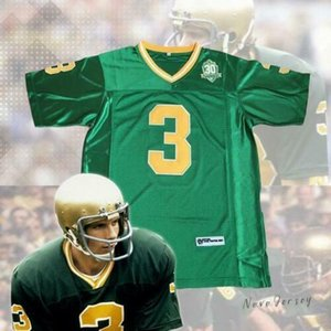 Mens 3 Joe Montana Notre Dame Fighting Irish 1977 com 30th Anniversary remendo NCAA College Football Jersey costuras duplas Nome Logos