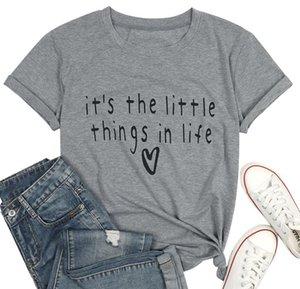sono le piccole cose della vita lettera della maglietta della stampa per le donne Estate manica corta O-collo maglietta di modo Nuovi Top