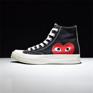 클래식 1970 년대 새로운 플레이 모든 스타 신발 CDG 캔버스 눈에 띄는 눈물 브랜드 화이트 블랙 디자이너 캐주얼 실행 스케이트 보드 스니커즈