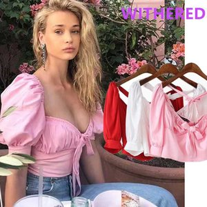 la moda blogger Davedi Ins mujeres blusa de la manga de soplo del collar del cuadrado Blusas Mujer de Moda 2020 camisas atractivas para mujer tops y blusa