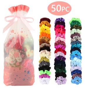50 couleurs Vintage Cheveux Scrunchies Stretchy Velvet Scrunchie Pack Femmes Elastic Cheveux Bands Fille Headwear Cadre en caoutchouc plain Cadre