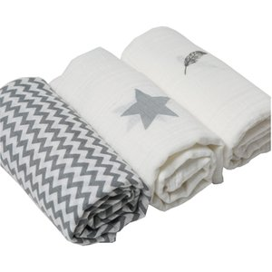 3Pcs Set 120*120cm Muslin Cloth 100% Cotton Newborn Baby Swaddles Baby Blankets Multi Designs Functions Baby Towel Hold Wraps CX200704