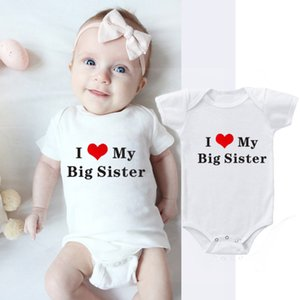 4 Colors Funny I LOVE MY SISTER Printed Babies Rompers Newborn Clothes Cotton Body Baby Girl Boy Romper 0-18M Baby Onesie