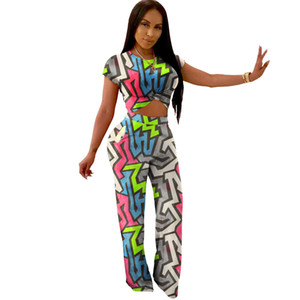 Donne progettista vestito a due pezzi insieme jogger elegante tuta sportswear stampato leggings t-shirt manica corta ansima più i vestiti di formato S-2XL