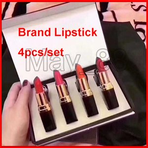 Hot brand Lip Makeup Matte lipstick 4 color Lips cosmetic black tube matte lipstick 4pcs set best price high quality