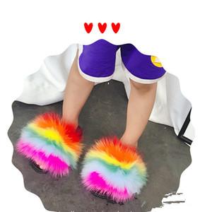 Großhandel 100% realer Fox Slipper Kind-Winter-Pelz-Kind Bücher Slides Mädchen Schieber Raccoon Fluffy Chinelo Wohnungen Strand-Sommer Y200106