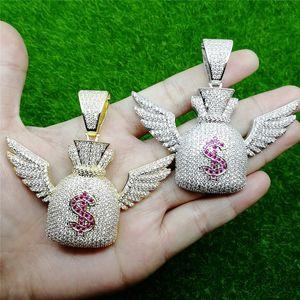 Hip Hop buzlu Out Zirkon Doları $ Sembol Çanta Kanat kolye kolye Altın Gümüş Bling Zincirler Takı Erkekler