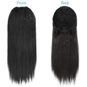 Coarse Yaki Ponytail 100% Human Hair Drawstring Ponytail With Clips In For Women Peruvian Virgin Kinky Straight Ponytail Hair Extension 140g