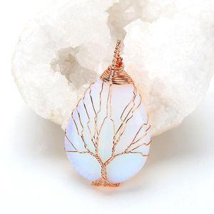 Yaşam Doğal mor Kuvars Opal Taşı Kolye El yapımı Pembe Altın Renk Ağacı Bırak Şekilli kristal kolye kolye V191031 Sarılmış