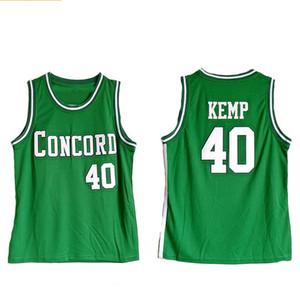 Concord Academy 40 Shawn Kemp HIGH SCHOOL Cousu Basketball Jersey NCAA de basket-ball Shirts Uniforme S-2XL Top Qualité
