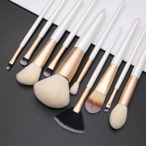 New makeup brushes 10pcs professional brush set white gold synthetic hair powder foundation eyeshadow eye brow face make up brushes.