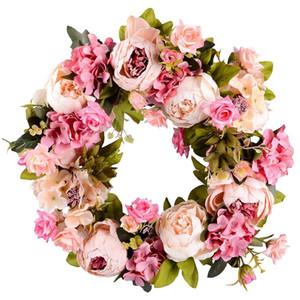 Couronne de fleurs artificielles Pivoine Couronne - Porte 16inch printemps ronde pour la porte avant, mariage, Décoration d'intérieur