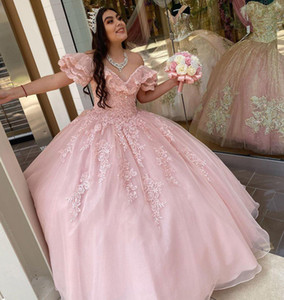 Princess Pink Quinceanera Dresses Ball Gown Off The Shoulder Beaded Lace Crystal Prom Dress Fluffy Tulle Sweet 16 Dress Cheap vestidos de