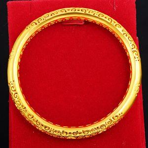 1 Hollow Hollow филигрань Золото Благоприятный Женские Браслет Элегантная невеста Свадебные украшения 18k желтого золота Заполненные Женский браслет подарков