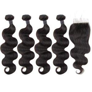 Toppers extensiones de cabello Remy peruano la onda del cuerpo de lotes con el encierro con el bebé Near Me PrePlucked pelo humano verdadero Por Negro