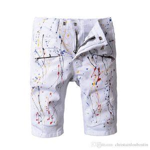 Balmain denim pantaloncini firmati jeans bianchi street casual Pantaloni moto camuffamento vernice Jeans ispirazione Art Kanye West Pants