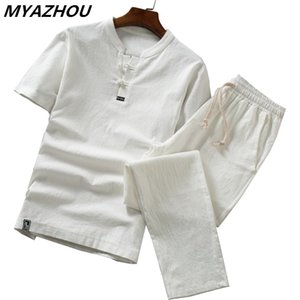 High quality cotton and linen thin linen set, slim solid color short-sleeved T-shirt large size loose casual breathable trousers