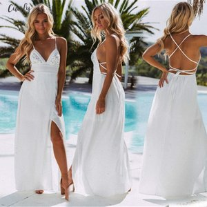 Size S Xl Women Top Sale Sleeveless White Color Backless Bandage V Neck Maxi Bohemia Newest Style Dresses Designer Clothes