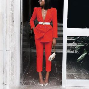 OL конструктора костюмы Женщины Solid Color 2 шт Брюки Sexy Тонкий лацкане шеи длинным рукавом костюм куртки Мода женские костюмы