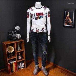 Lettre respirante T-shirts Music Print ras du cou Slim Homme Vêtements Homme Fashion Style Vêtements pour hommes d'été Desinger