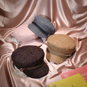 2018 Winter Vintage Hats For Women Fashion Gold Thread Tweed Military Hat Gorras Planas Snapback Caps Female Casquette Cap D20