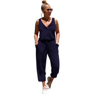 Tmustobe Elegant Solid Color Sleeveless Single Breasted Vest Lace Up Jumpsuit For Women Casual Home Service Overalls Female