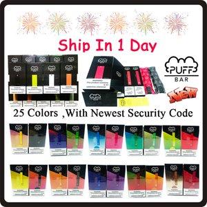 Neueste Puff Bar Einweg Vape Pens Kapazität 1,3 ml Vape Cartridges Puff 280mAh Batterie nicht aufladbar Kit Vapes Anzeigekasten 25 Farben