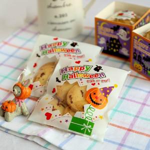 10x10cm سعيد هالوين القرع ذاتية اللصق حقائب الديكور البلاستيك للحصول على وجبة خفيفة البسكويت كوكي المخابز الحلوى التعبئة SG1043
