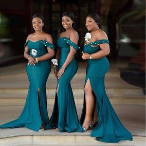 Afrique Hunter vert Robes de mariée 2020 Sexy Off épaule sirène fendu sur le côté long Robes de soirée grande taille Femme de ménage d'honneur robe de bal