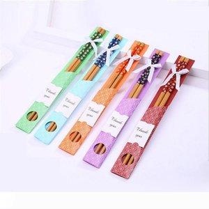 """Bir Sıcak Doğal Bambu Chopsticks bulaşığı Düğün Favor Parti Hediyeleri Çin """"Doğu Meet Batı"""" sofra takımı Chopsticks eşyalar"""