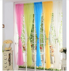 Красочный Цветочный Тюль Вуаль Дверной Занавес Прозрачные Подзоры Шарф Окно Марлевая Занавеска