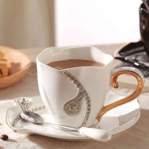 Diamonds Design Coffee Mug Creative Gift Lovers Tea Cups 3D Ceramic Mugs With Rhinestones Decoration Cups And Saucers