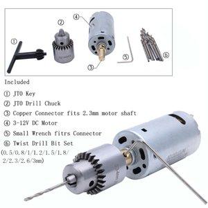 AUTOTOOLHOME Mini 12V DC main électrique Drill moteur PCB Presse Drilling Ensemble compact 0.5-3mm Twist Bits 0.3-4mm JT0 Mandrin Outil Y200323