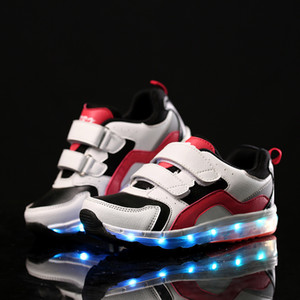 Air cushion shoes for children and teenagers USB charging LED shoes of the same style for men and womenBreathable cushioning shoes 26~39