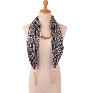 RUNMEIFA 2019 New Fashion Snake/Leopard Printing Pendant Necklace Scarf for Women Muslim Head Scarf Female Clothing Accessories