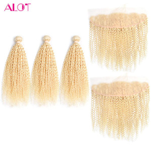Malaysian Kinky Curly 613 Blonde Bundles With Frontal Closure Ear To Ear 3 Pcs Human Hair Bundles With Lace Frontal Virgin Hair