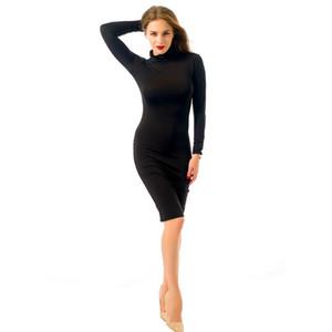 Cowl Neck à manches longues Robes solides Casual Ladies Vacances Mode Vêtements Automne Pure Color Robe Femme Femmes