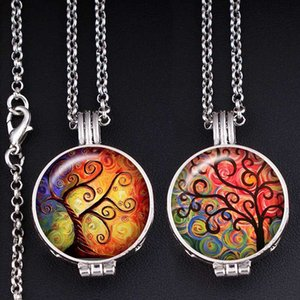tree of life Perfume Aroma Locket glass Necklace Fragrance Essential Oil Diffuser XS645