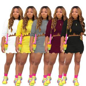 Kadınlar tasarımcı elbiseler 2 parça set mini etek takım moda katı bayan giyim plaj parti akşam kulübü elbise klw1850