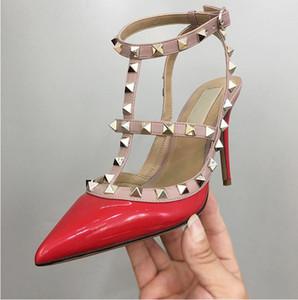 2019 classiche donne di marca tacco alto sandali rivetti scarpe v logo 10cm 8cm 6cm tacco sottile donne scarpe da sposa 34-43 scatola