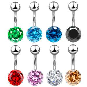 1PC Çelik Göbek Düğme Yüzük Navel Piercing Moda Renkli Zirkon Göbek Yüzükler Navel Küpe Halter Piercing Seksi Vücut Takı