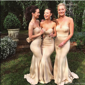 2019 Sweetheart Satin Long Bridesmaids Dresses Mermaid Ruched Maid of Honor Gowns Wedding Guest Evening Prom Wears BM0690
